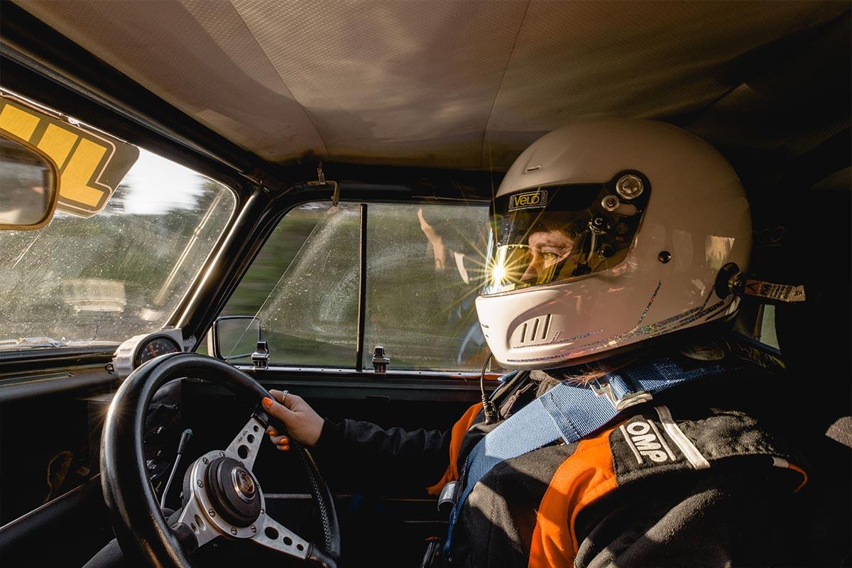 Linda Devlin driving Mini Cooper S