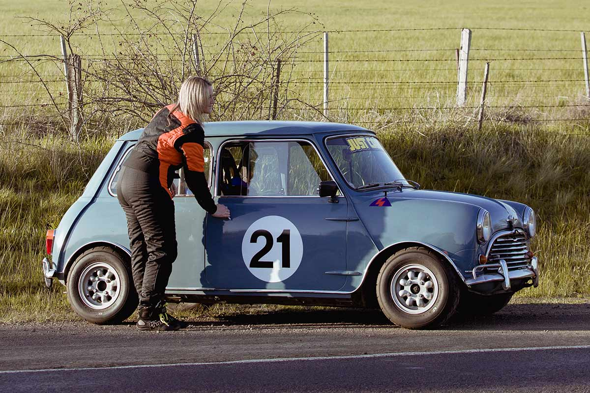 Linda Devlin and her 1964 Mini Cooper S